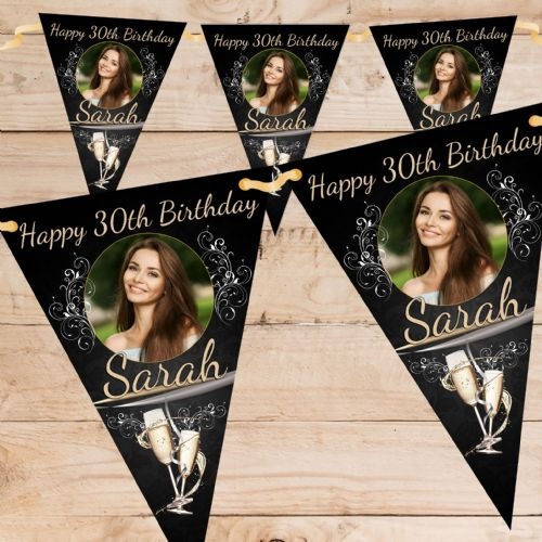 Personalised Happy 18th 21st 30th 40th Birthday Flag PHOTO Bunting Banner - N64 ANY AGE Black Champagne Burst design